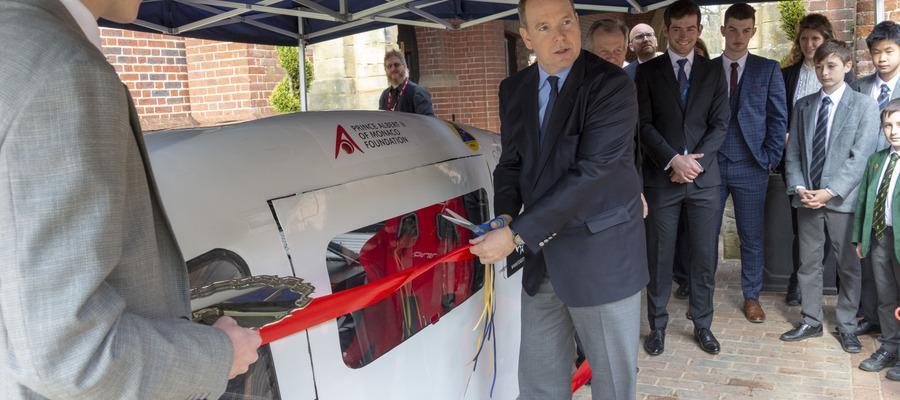 Prince Albert II of Monaco unveiling Ardingly College's Solar Car