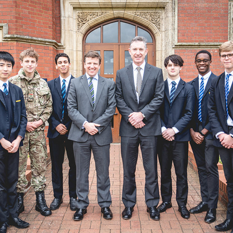 Bedford School's Head Master, Mr James Hodgson with Head of Science, Mr Mike Beale and the 2019 Talalay Prize Winners