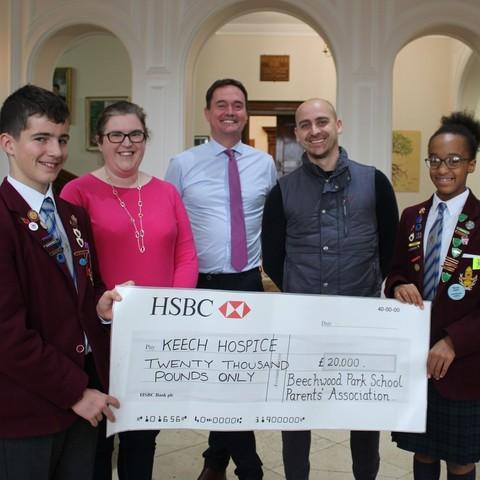 Beechwood Park School presents cheque to Keech
