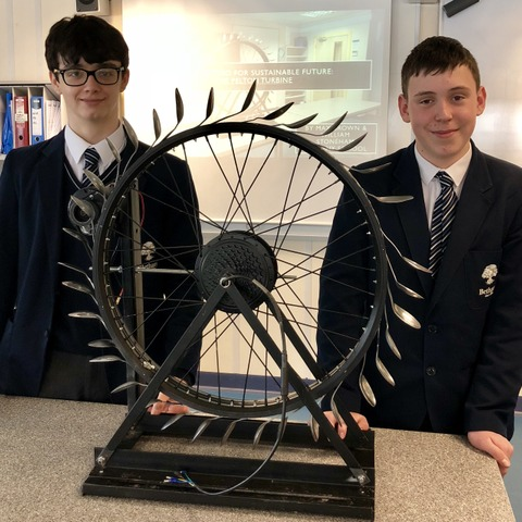 Max Brown and Will Stoneham with their entry for the Handy Hydro challenge, for which they had to create an efficient design for generating electricit