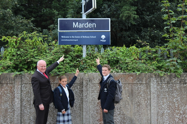Headmaster, Francie Healy, with two pupils Elsa Taylor and Rory Neville who travel to Marden every day for School.