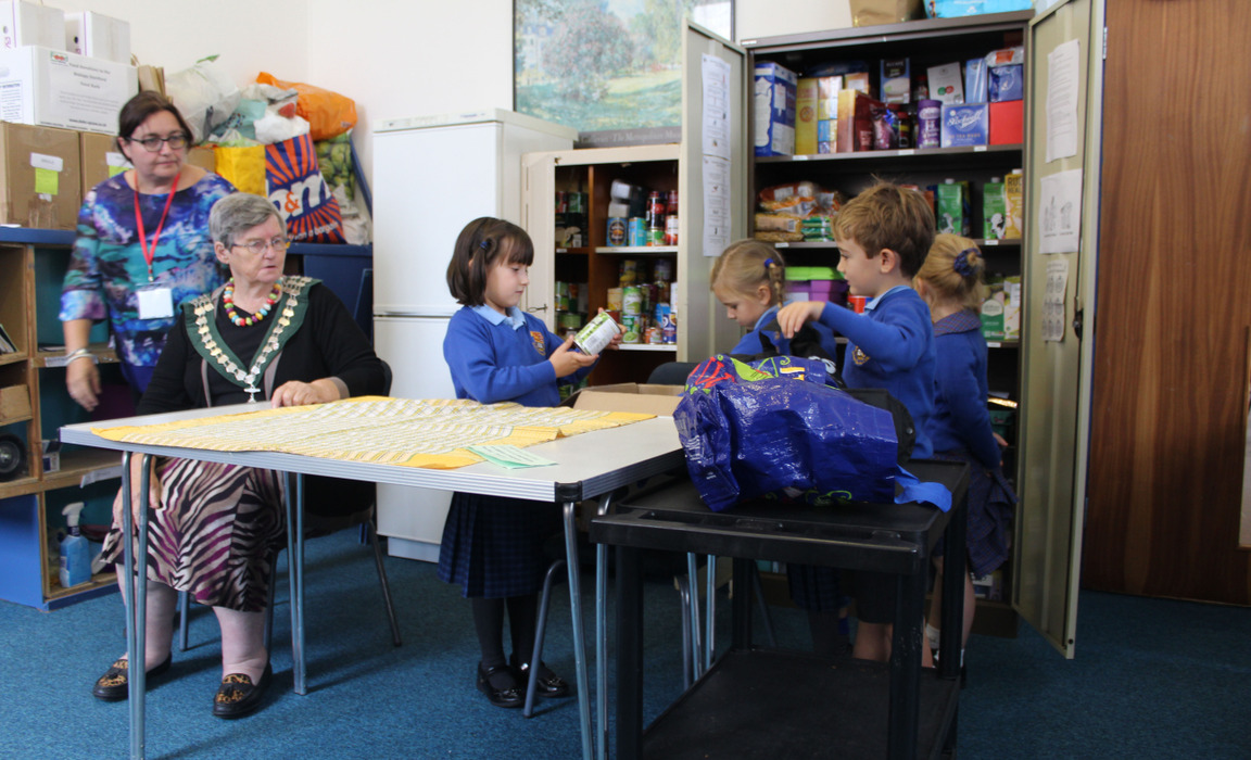 Bishop's Stortford College Pre-Prep pupils at the Food Bank