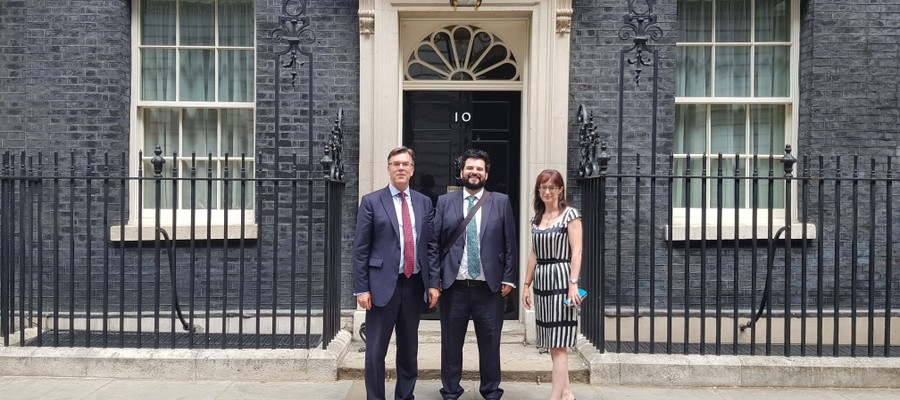 Bishop's Stortford College Headmaster, Jeremy Gladwin, and two others outside No. 10 Downing Street