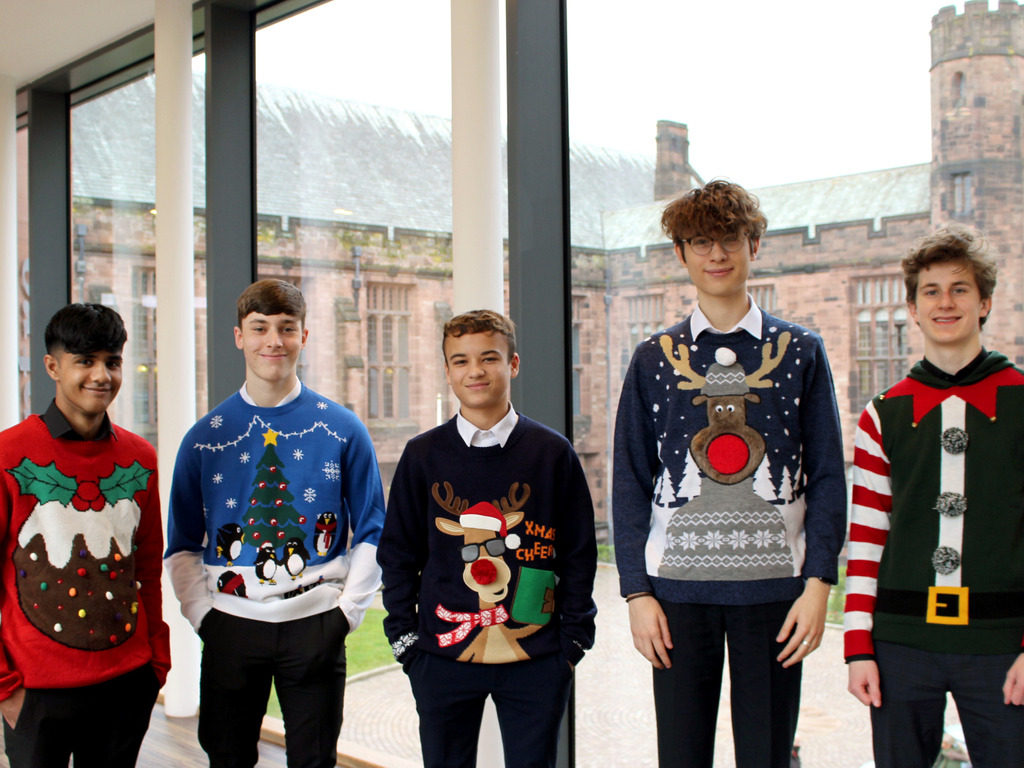Bolton School Boys' Division Sixth Form students wearing their Christmas Jumpers to support Bolton Hospice