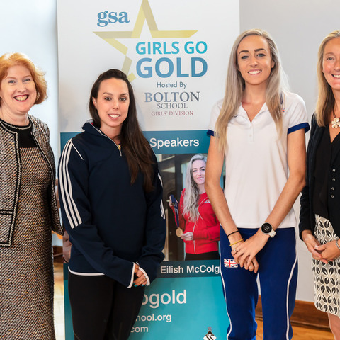 Headmistress Sue Hincks and Head of Sport Mrs Heatherington welcome Olympians Beth Tweddle and Eilish McColgan to the Girls Go Gold Conference