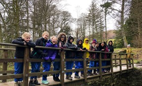 Pupils enjoying a walk to stimulate their imaginations during the Writing Retreat