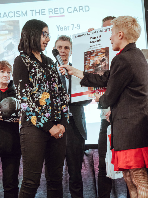 Bolton School Girls' Division's Manahil Shows Racism the Red Card