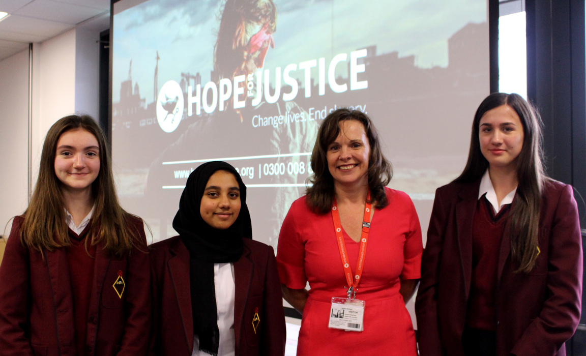 Susan Bannister with Bolton School Girls' Division students in Year 10