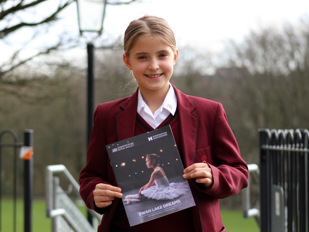 Aspiring ballet dancer Miley Sharpe danced in the Birmingham Royal Ballet's 'Swan Lake Dreams'