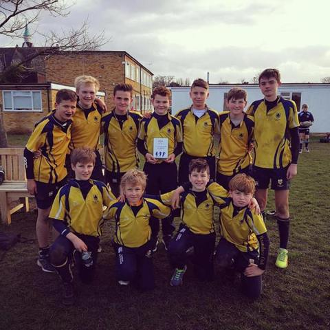 Boundary Oak U13s celebrating their win at the ISA Rugby Sevens tournament
