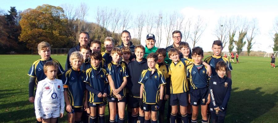David Campese rugby coaching - Boundary Oak teacher - Paul Bristow, Head of Sport - Joe Davis, David Campese, Headmaster - James Polansky