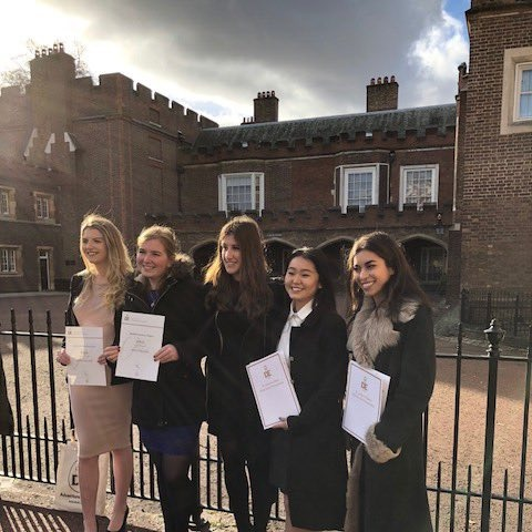 l-r Sophie Ware, Madeleine Webster Maria Christodoulou, Victoria Cheung, Shiva Naser Bromley High Alumnae recent sixth form leavers (BHS Class of 2017
