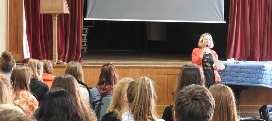 Molly Gunn of Selfish Mother and FMLY store gives the closing key note address at the recent Bruton School for Girls Careers Day.