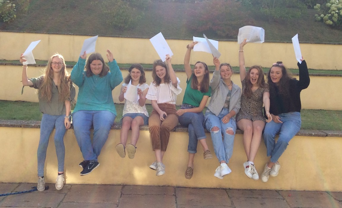 Delighted GCSE students celebrate at Bruton School for Girls.