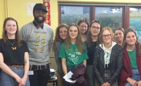 Karl Nova with Sixth Form students at BSG