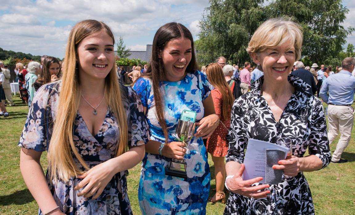 Clarissa Farr (right) with Head Girl, Charlotte Convey (centre) and Deputy Head Girl, Lucy Amlot (left) at the Bruton School for Girls Speech Day.