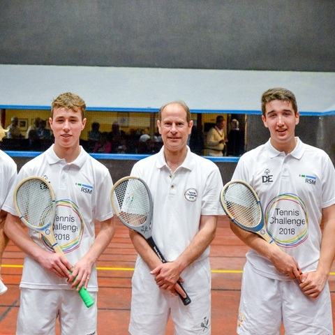HRH The Earl of Wessex with Canford Real Tennis players