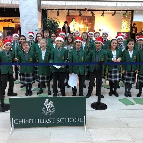 Chinthurst pupils sang carols at the Ashley Centre