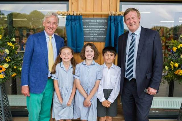 L to R: Anthony Townsend, Cranleigh prep pupils, Mike Wilson