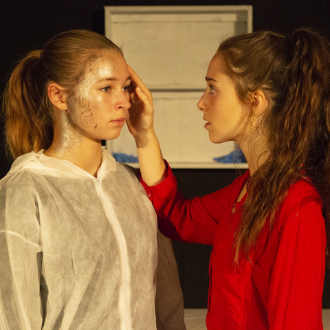 Pupils from Dauntsey's performing 'Medicine Cabinet', a recent production at Dauntsey's, conceived and directed by a Sixth Form pupil at the School.