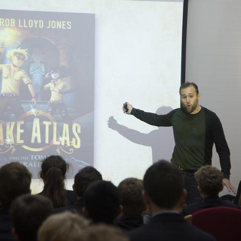 Children's author Rob Lloyd-Jones, during his visit to Dauntsey's recently.