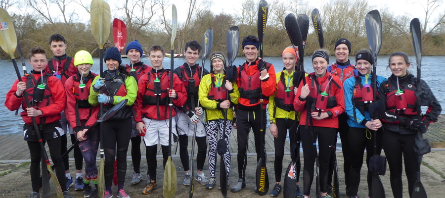 Dauntsey's Sixth Formers in training for the DW Canoe Race