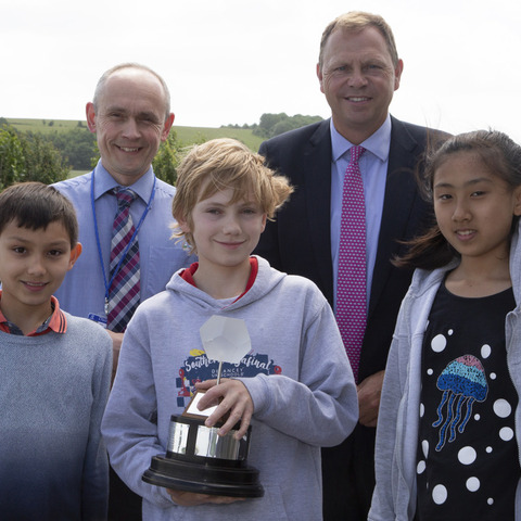 Photograph shows: Millfield Prep School pupil (centre, front row) wins Dauntsey's annual Dodecahedron Competition.  Back row, Pete Mobbs (left), Head