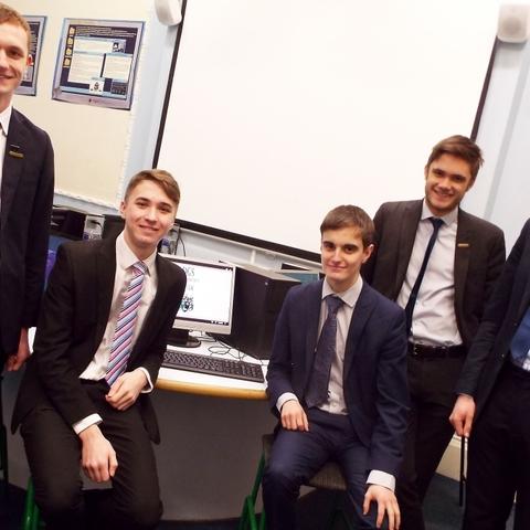 Derby Grammar School's UK Space Design Competition Team, Charlie Pugh-Lewis, Ollie Wilson, Andrew Binnie, Ben Mandale and Elliot Butterworth.