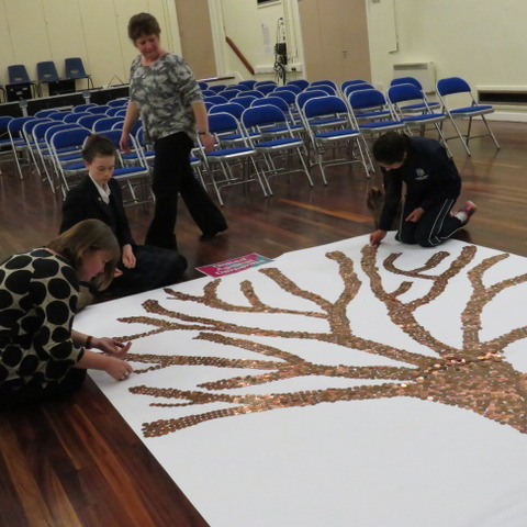 Mrs Hough & helpers filling in the Tree of Knowledge