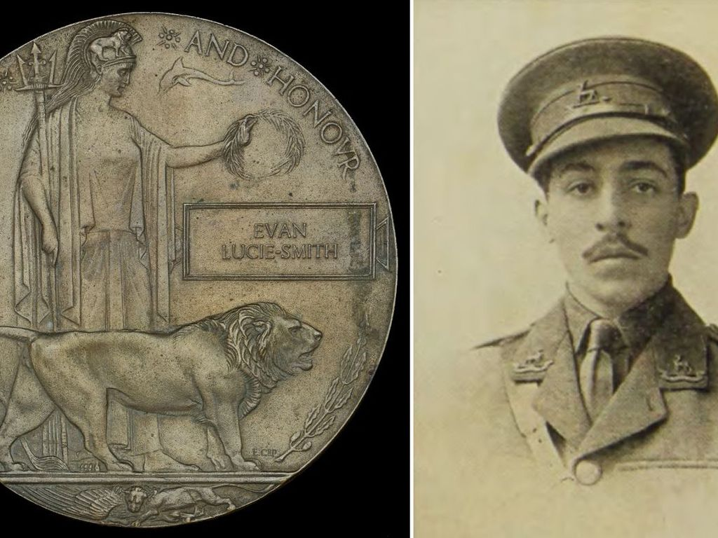 Lt Euan Lucie-Smith and the antique plaque that bears his name