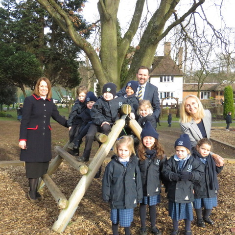 Headmistress Shelley Lance (L), Deputy Head Ewan Carradine and Head of Pre-Prep Amanda Burton Smith (R) with pupils from Feltonfleet Pre-Prep