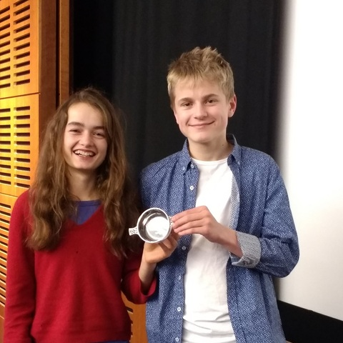 Beatrice Threipland and Tom Murray-Usher of Glenalmond College. Bea won the national Poetry by Heart 2018 final, beating participants from throughout