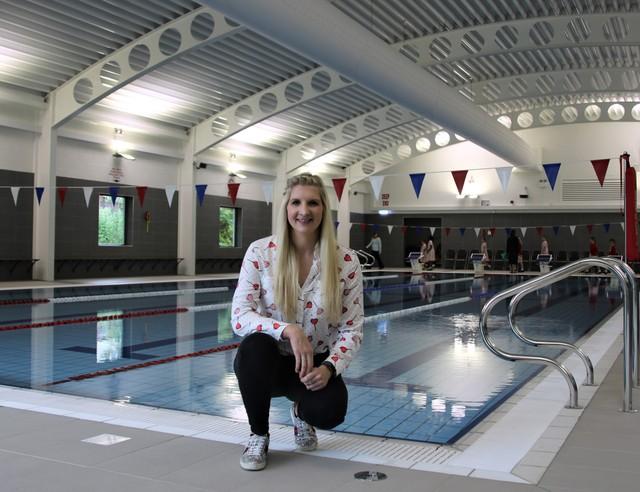 Rebecca Adlington by the pool at Godstowe