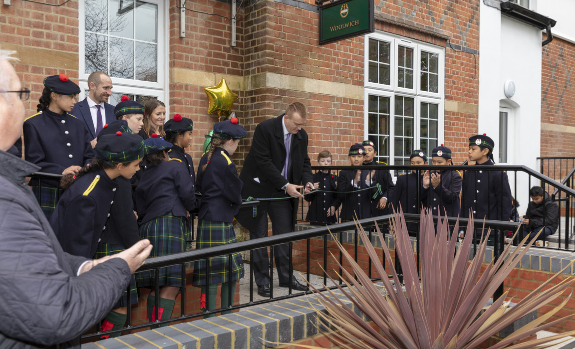 Tom Gordon, a direct descendant of General Charles Gordon and a Trustee of Gordon's in West End, Woking cuts the ribbon to officially open Woolwich Ho