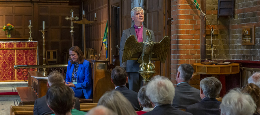 The Bishop of Guildford, The Right Reverend Andrew Watson addresses the congregation in the Gordon's School Chapel at the 125th Dedication Anniversary