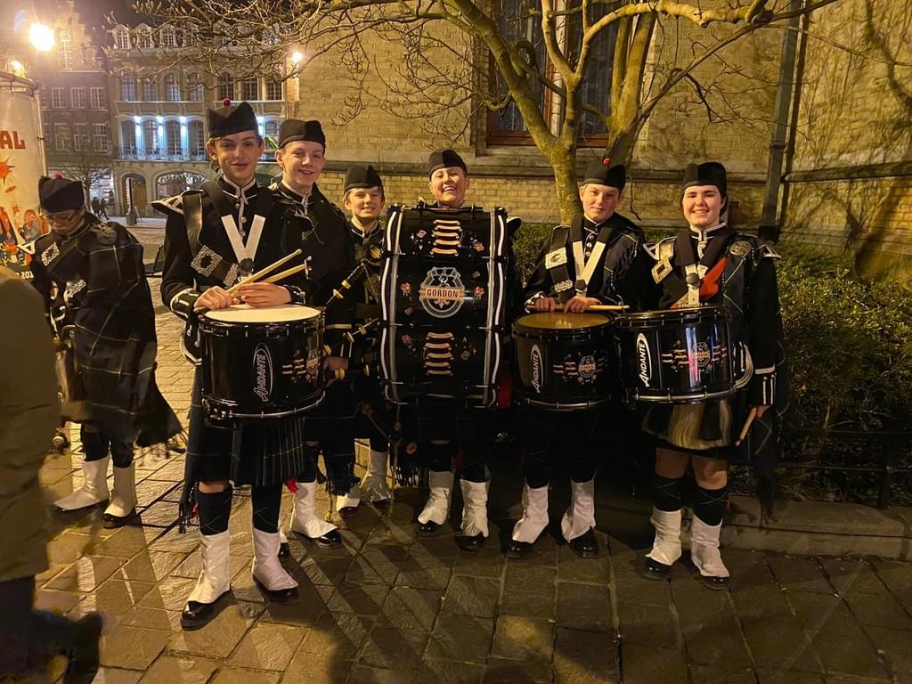 Gordon's drummers at the Menin Gate, where they took part in the Last Post Ceremony.