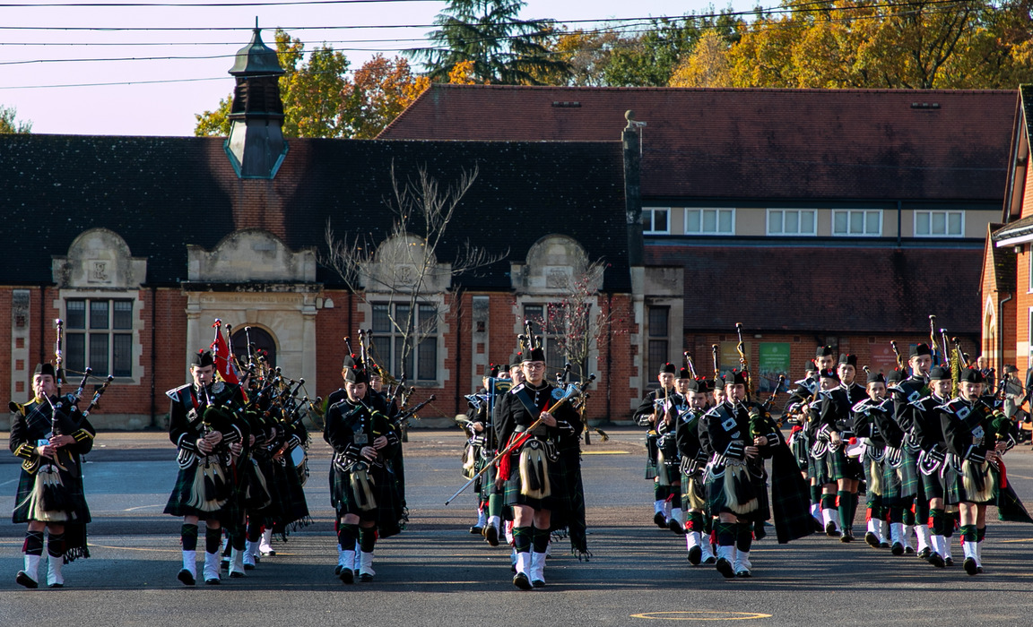 Gordon's School Pipes and Drums lead the marching at the Remembrance Service and Parade.