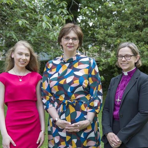Head Girl Emma Stanley, Rt Revd Dr Helen-Ann Hartley, Mrs Sylvia Brett Principal of Harrogate Ladies' College