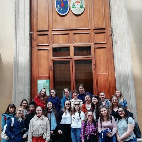 Harrogate Ladies' College Chapel Choir outside St Philip Neri Church in Vicenza