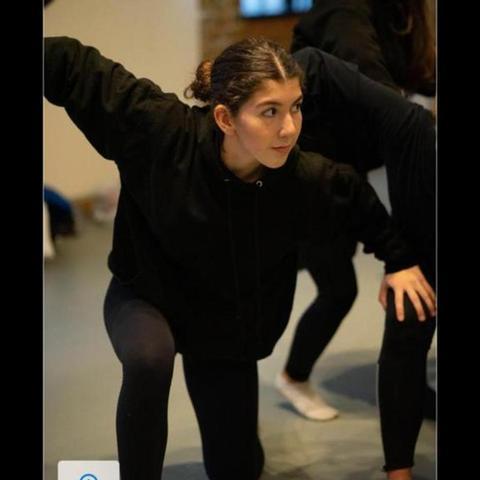 Rheia rehearsing with Company Jinks