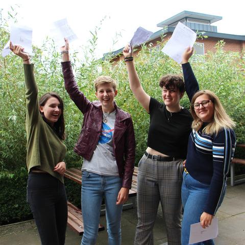 Girls celebrate results at Headington