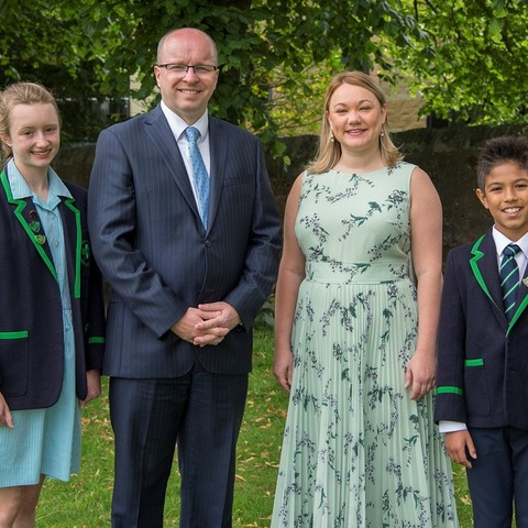Highfield Prep School Head Girl Connie Tasker; Head of Highfield James Savile; Charlotte Gardiner; Highfield Prep School Head Boy Nico Granilo