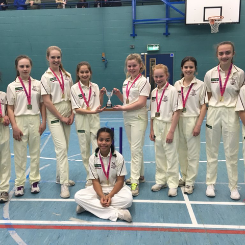 The Holmwood U13 girls cricket team, winners of the Lady Taverners Essex County Cricket Final
