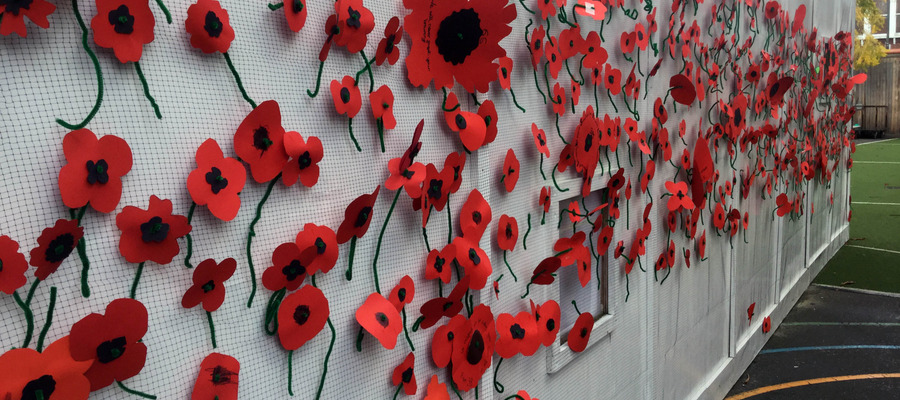 The wall of poppies made by Hornsby House pupils.