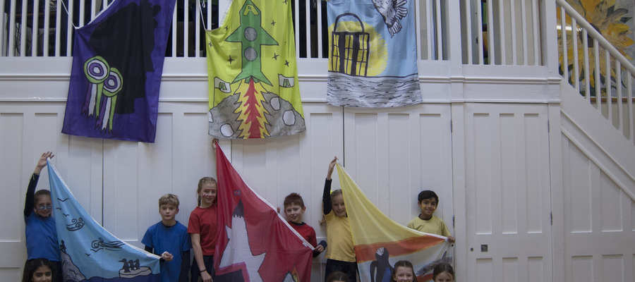 New House flags with designers and House Captains - Hornsby House
