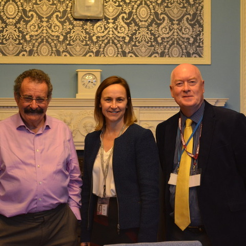 Lord Professor Robert Winston with Head, Oona Carlin and Chair of Governors, Dr Simon Letman