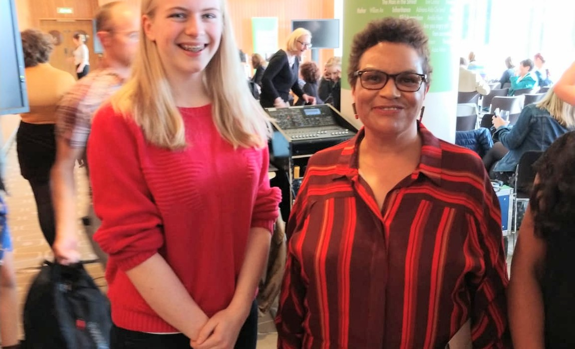 Kilgraston pupil, Anna Gilmore Heezen, with 'Scots Makar', Jackie Kay, at The Foyle Young Poets of the Year Award 2019 at London's Southbank Centre.