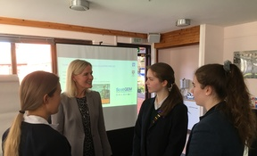 Professor Sally Ibbotson speaking with Kilgraston pupils as part of the Women and Business programme 13.3 (3)