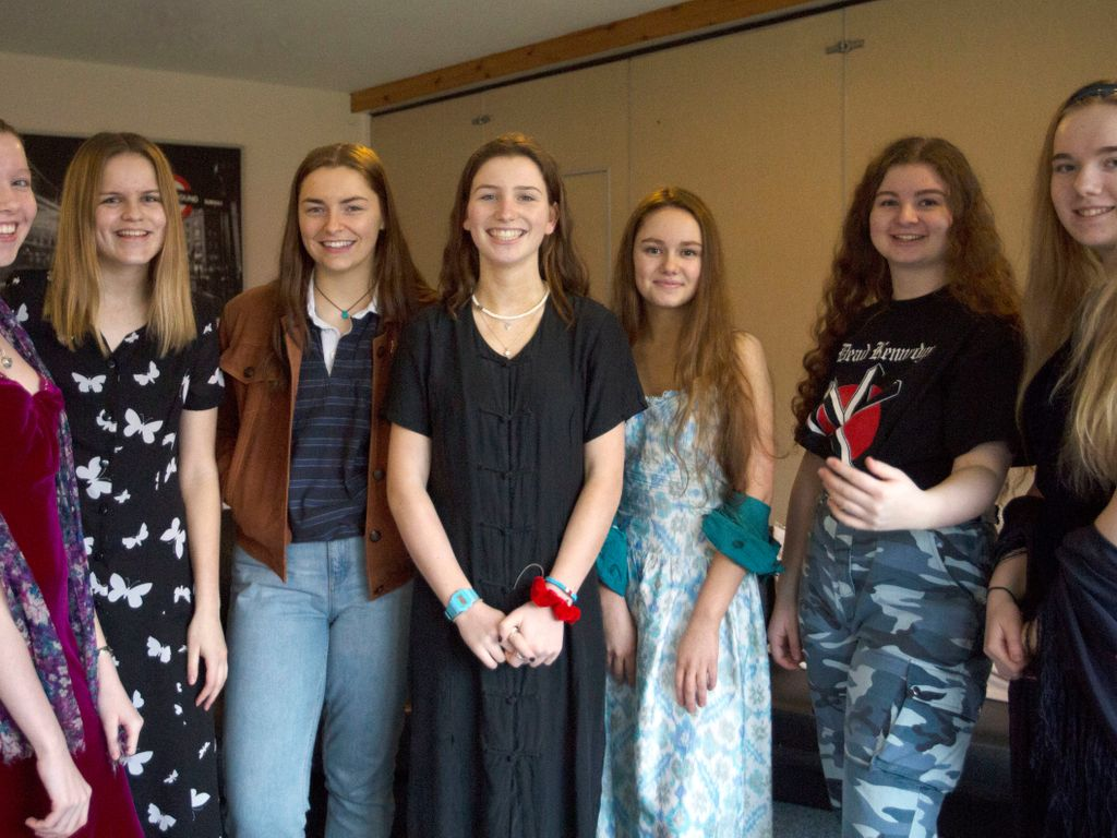 Sixth Form Kilgraston pupils in vintage clothing for Wear It Again day 6.3.19(7)