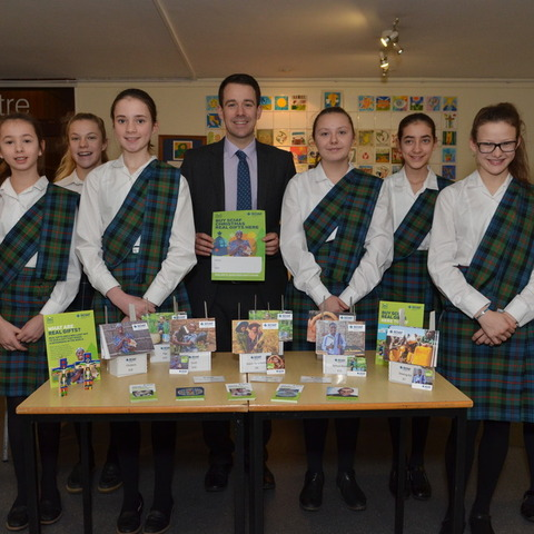 Kilgraston pupils with their teacher Mr Stephen Johnston fundraising for SCIAF during lunchtimes at school